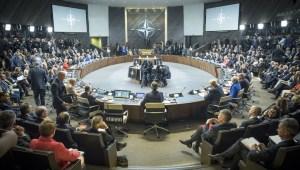 NATO-fundurinn var haldinn í nýjum höfuðstöðvum bandalagsins.