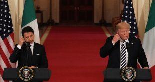 Giuseppe Conte og Donald Trump á blaðamannafundi í Hvíta húsinu.