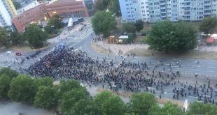 Loftmynd af mótmælendum í Chemnitz.