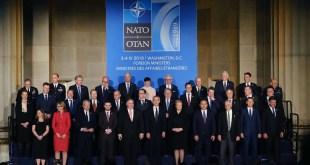 Utanríkisráðherrar NATO-ríkjanna í Washingtom 4. apríl 2019.