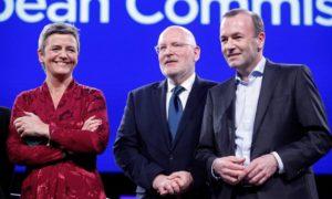 Margrethe Vesager, Frans Timmermans og Manfred Weber.