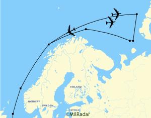 Á síðunni Mil radar birtist þetta kort af flugi bandarísku vélanna.
