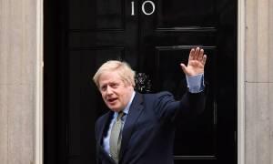 Sigurglaður Boris Johnson forsætisráðherra.