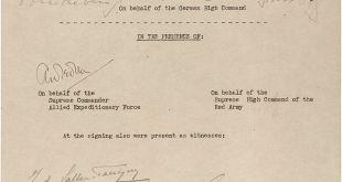 Uppgjafarskjal Þjóðverja frá 8. maí 1945.