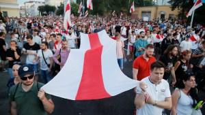 Friðsöm mótmæli í Minsk.