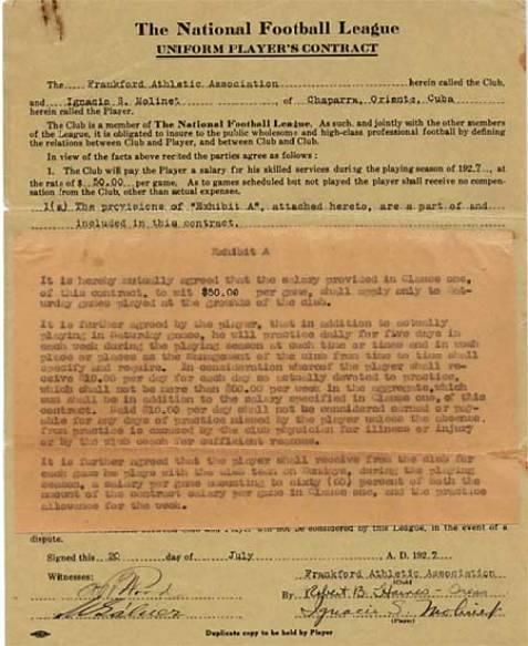Contrato Lou Molinet HOF NFL