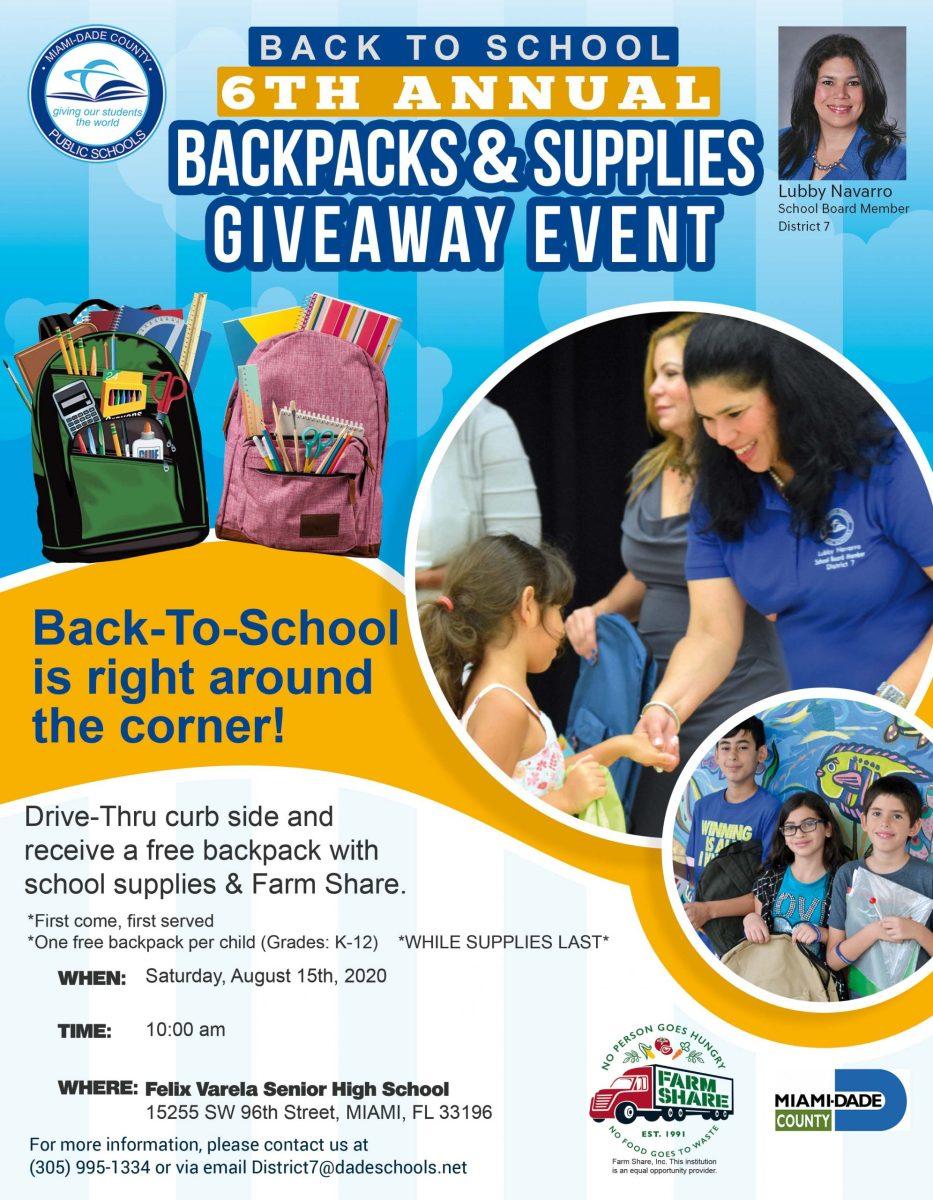 District 7 Backpacks & Supplies Giveaway - Felix Varela ...