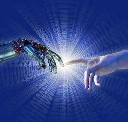 Roboter- berührt Menschenhand