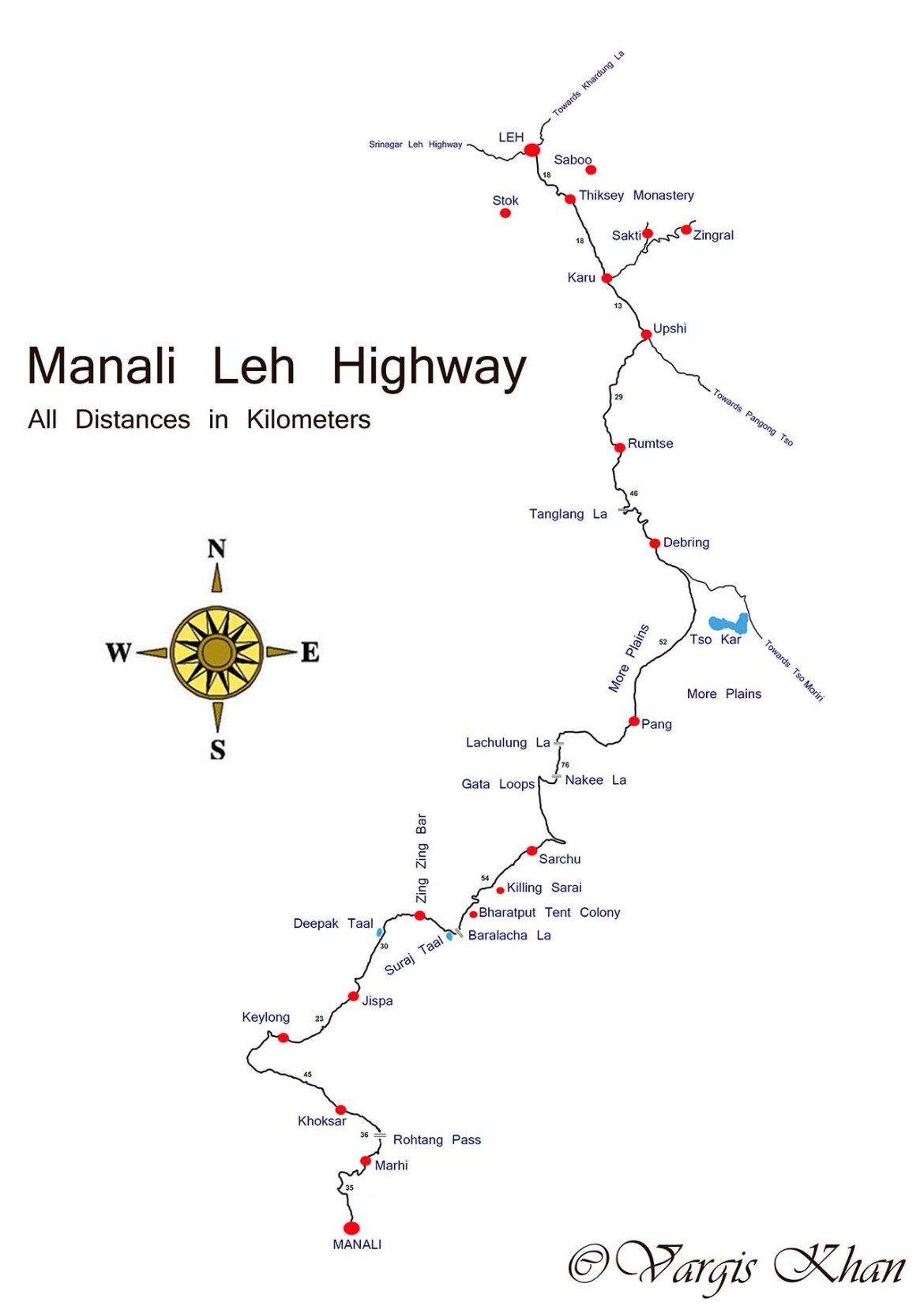 manali to leh road map with distance