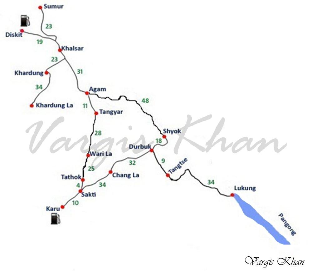 nubra valley to pangong tso route