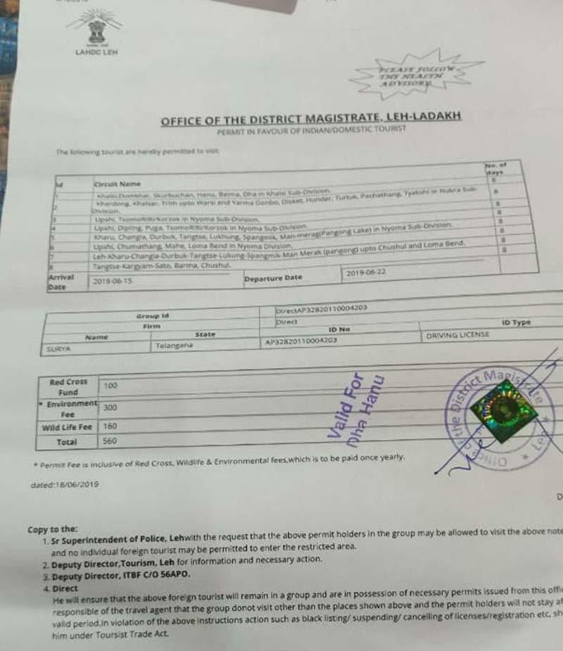 Ladakh permit