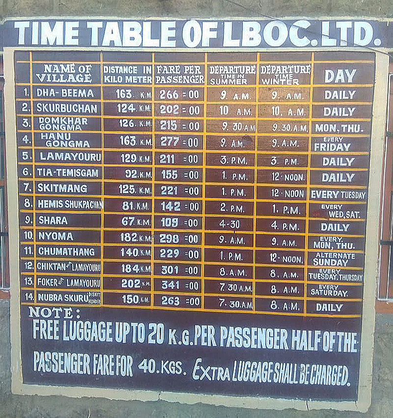 timetable of bus service in leh ladakh