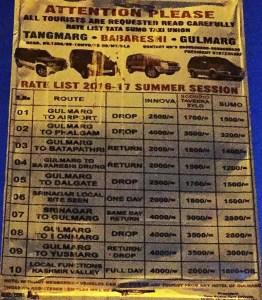 gulmarg taxi rates