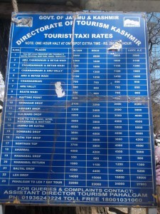 taxi rates in pahalgam
