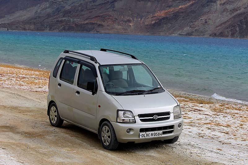 Wagon R at Pangong Lake