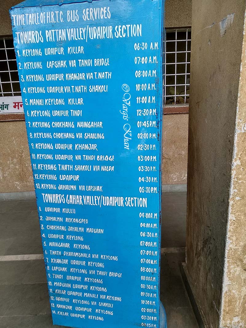 Keylong Bus Stand Timings