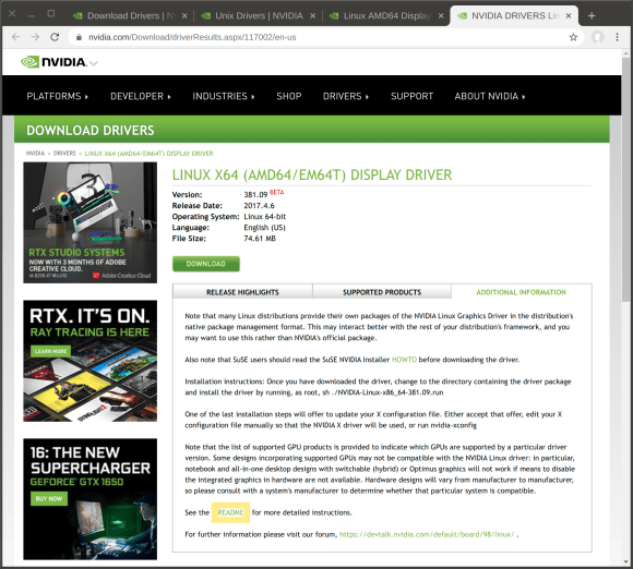 NVidia driver download page