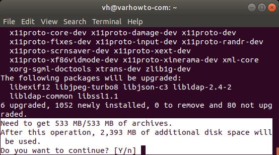 Running sudo apt install ros-melodic-desktop-full