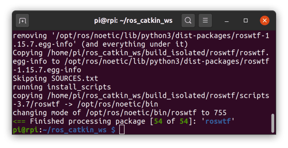 finished compiling ros noetic dependencies on raspberry pi 4