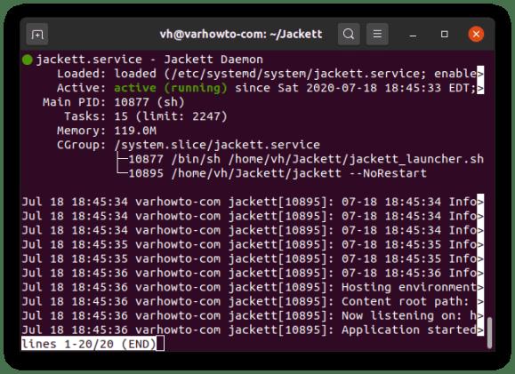 Checking Jackett systemd service