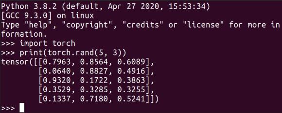 Testing PyTorch installation on Ubuntu 20.04