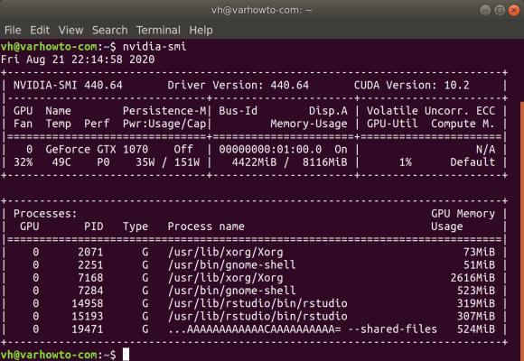 Use nvidia smi to check cuda version on Ubuntu 18 04
