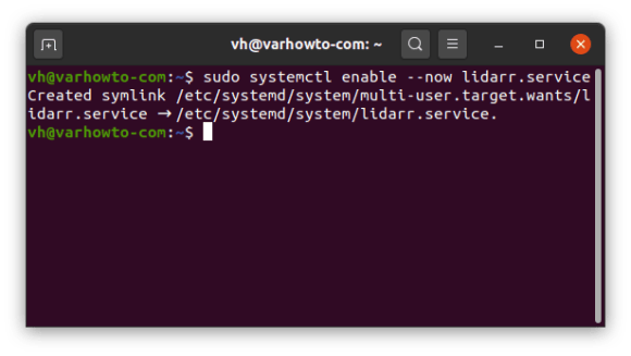 enable lidarr systemd service on Ubuntu 20.04