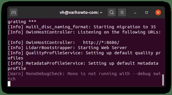 running lidarr on Ubuntu 20.04
