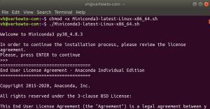 Make the miniconda installation script executable and run it