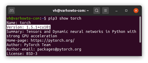 check pytorch version using pip3 show torch