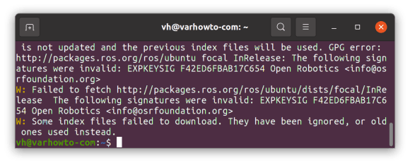 W Some index files failed to download. They have been ignored or old ones used instead