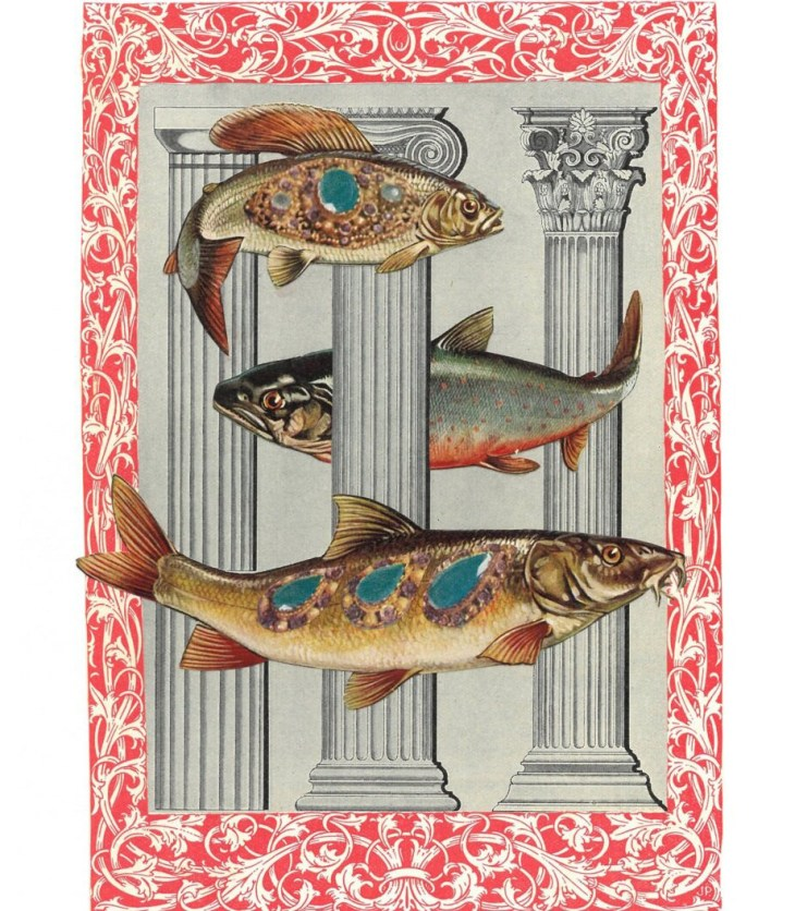 A collage of three bejeweled fish woven in between three Roman columns surrounded by a decorative red and white frame
