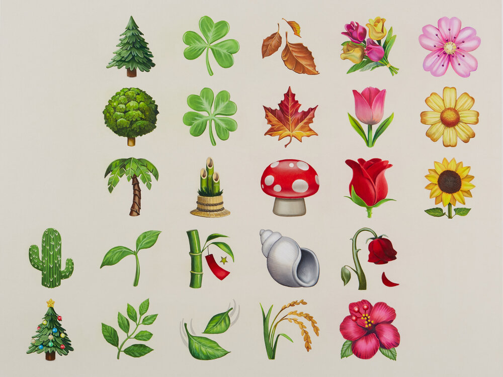 A painting of digital emoji symbols of nature like plants and trees on a beige background