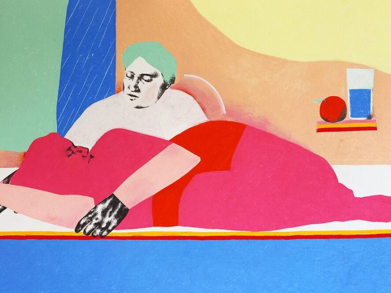 A bright and colorful pastel and graphite drawing with one, neon pink person reclining horizontally next to a pale pink person with short green hair