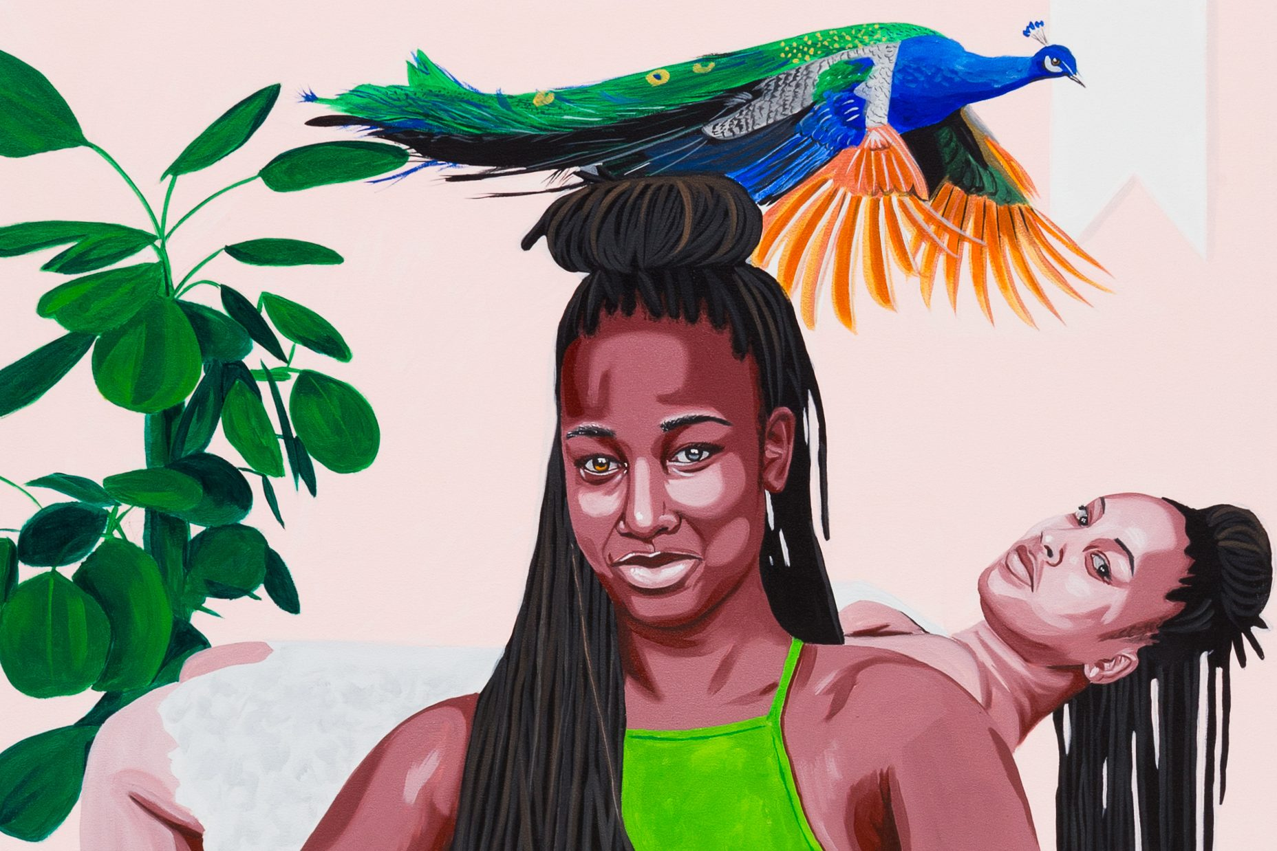 A painting with a smiling Black woman in the center foreground, her long black hair is styled in dreads with half down and half up in a large bun on top of her head. Behind her, another woman with the same hair style bends backwards, as a peacock flies overhead. There is also a large, round leafed plant on the left side of the frame.