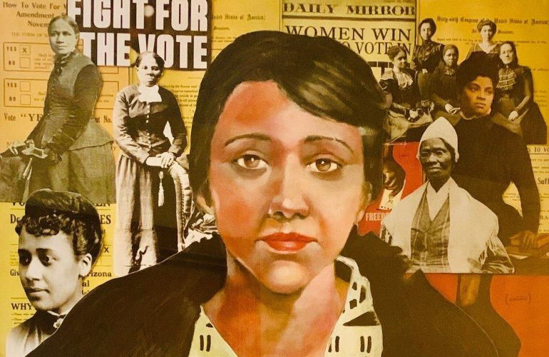 A collage of imagery related to the fight for womens right to vote. In the foreground, a woman with brown eyes and brown hair looks out at the viewer. Behind her, black and white images of Sojourner Truth, Ida B. Wells, and other Black women activists layer over newspaper clippings with articles about voting rights.