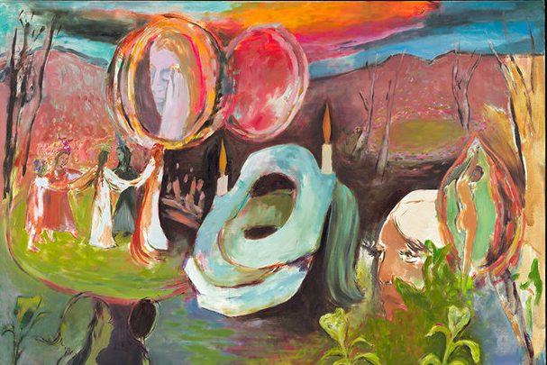A surreal and fantastical painting depicting a ceremonial scene. Figures in dresses move in procession, holding hands. Above them, a woman's face appears in a window or mirror, her hand touches her face. In the lower right corner another white haired woman peers out from behind bushes. The colors are saturated and lush, and the brushstrokes are loose and evocative.