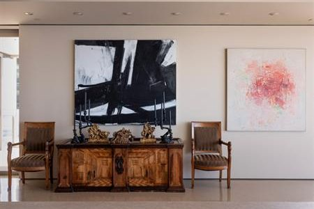 Installation view of Cross Section, 1956, Franz Kline, and Untitled, 1954, Philip Guston, in the home of Virginia Wright.