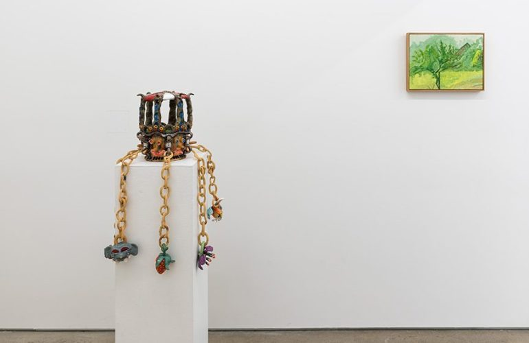 In the left half of the image, a sculpture by Sharif Farrag sits on a tall white plinth. To the right, a small landscape painting by Lois Dodd hangs on the wall.