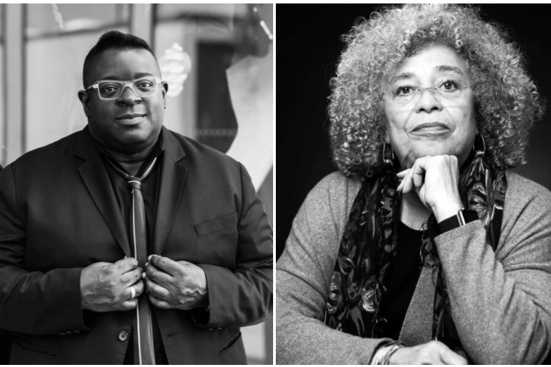 Two black and white photograph portraits, side by side. Isaac Julien is on the left and Angela Davis is on the right.