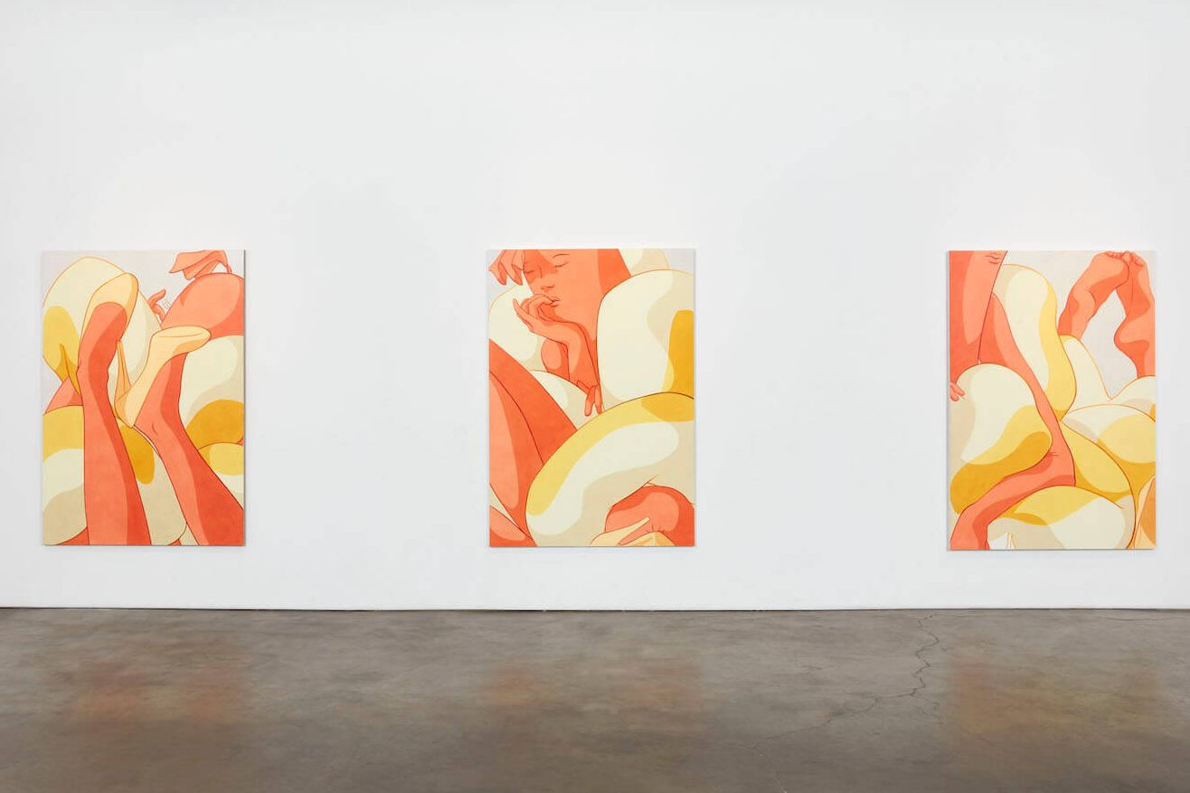 Three large paintings hung on a white wall. Each painting shows a different composition of anthropomorphized, seductive hot dogs tumbling in pillowy hot dog buns.