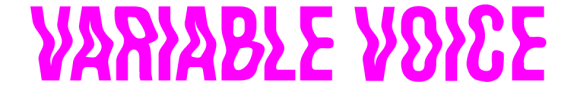 Variable Voice logo in a wiggly magenta, sans serif font