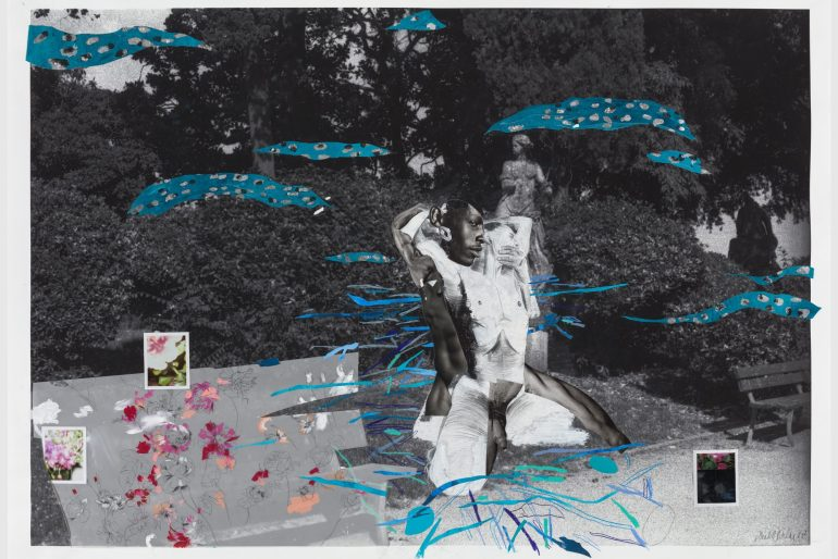 Collaged image of a person embracing someone kneeling from behind in a park setting.