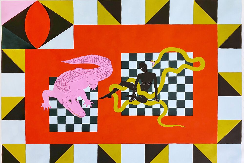 A graphic, brightly colored gouache painting. The rectangular frame has a bright, orange-red rectangle in the center. Within it, there are two dark green and white checkerboard rectangles. The left rectangle has a pink alligator walking across it, while the other has a nude black woman sitting on the ground as a large yellow snake curls around her. In the painting's upper left corner, geometric shapes make an abstract eye. Yellow and black triangles make diamonds spaced between white squares along the painting's border.