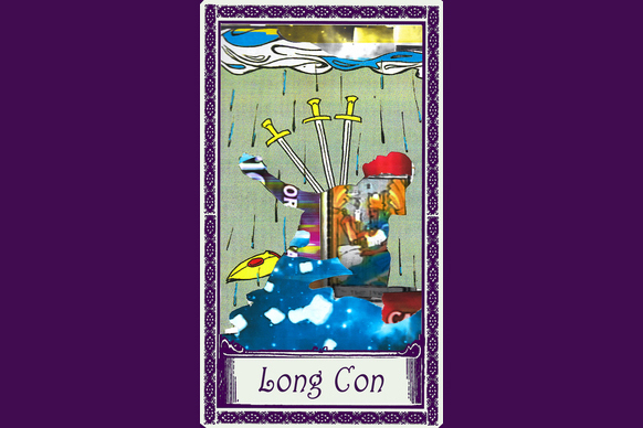 "A tarot card of the three of swords, but the figure's body has been replaces by a collage of other images. The card's title reads ""Long Con"""