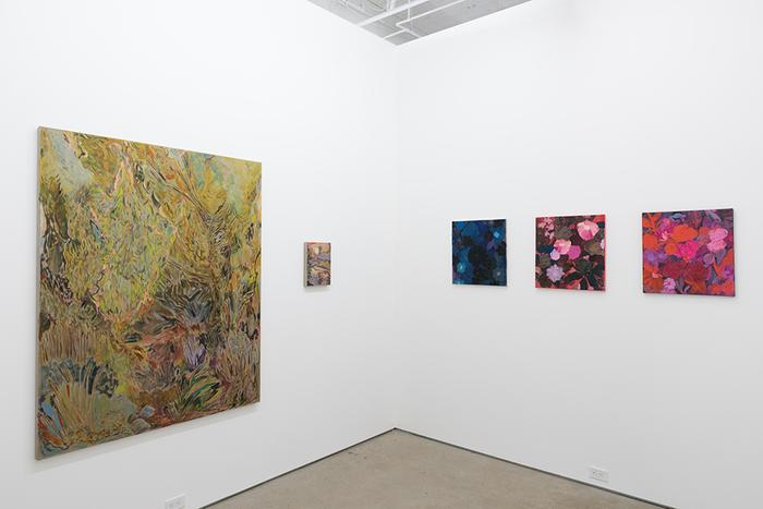 Installation image of Earth at Adams and Ollman gallery. The photograph shows a corner of the gallery with five paintings hung on white walls. On the left is a large canvas with abstract, psychedelic botanical imagery next to a much smaller canvas with imperceptible content from the image's distance. On the right wall are three square paintings of the same size, each depicting flowers. One uses deep blue hues, one pinks and dark greens, and one pinks and reds.