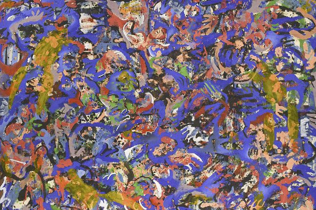 An abstract painting with evocative, chaotic brushstrokes. The main colors are a dark periwinkle, yellow, red-orange, lime green, black, and white.
