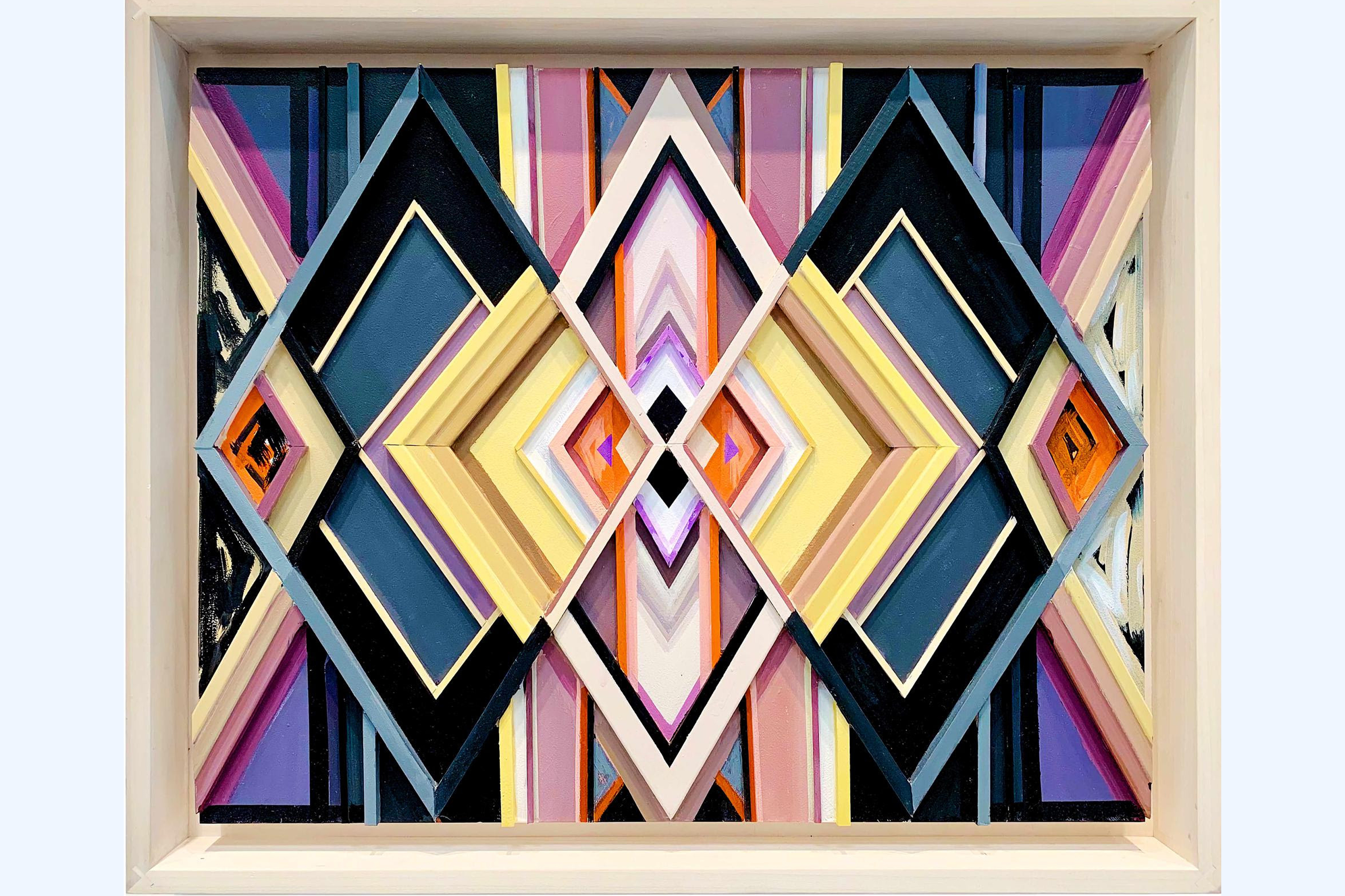 A series of concentric, three-dimensional diamond arranged within a frame. The overlapping shapes are variously colored to create a prism or kaleidoscope effect. The colors are dark teal, butter yellow, lilac, black, orange, and mauve.