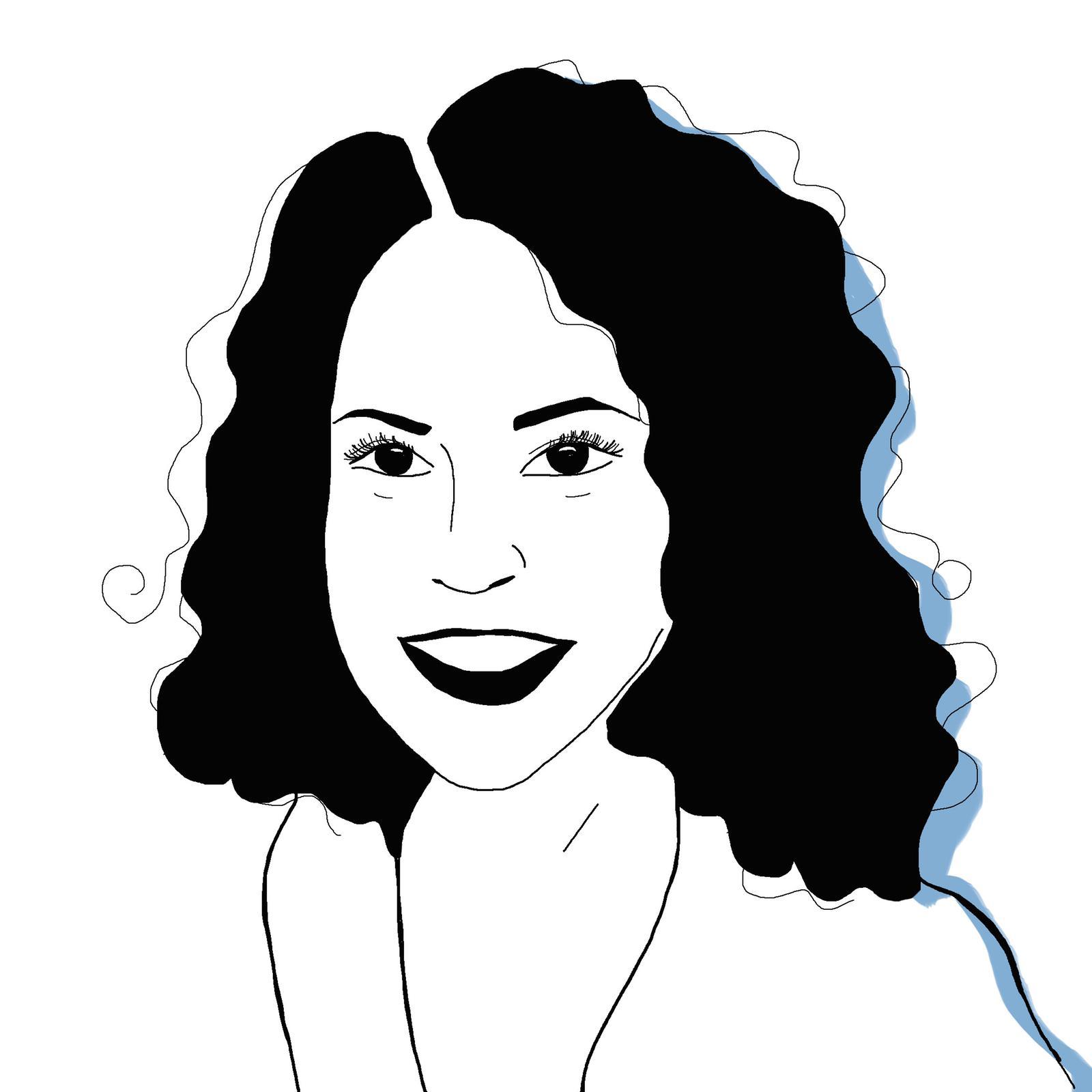 A black and white illustration of Katie Kheriji-Watts