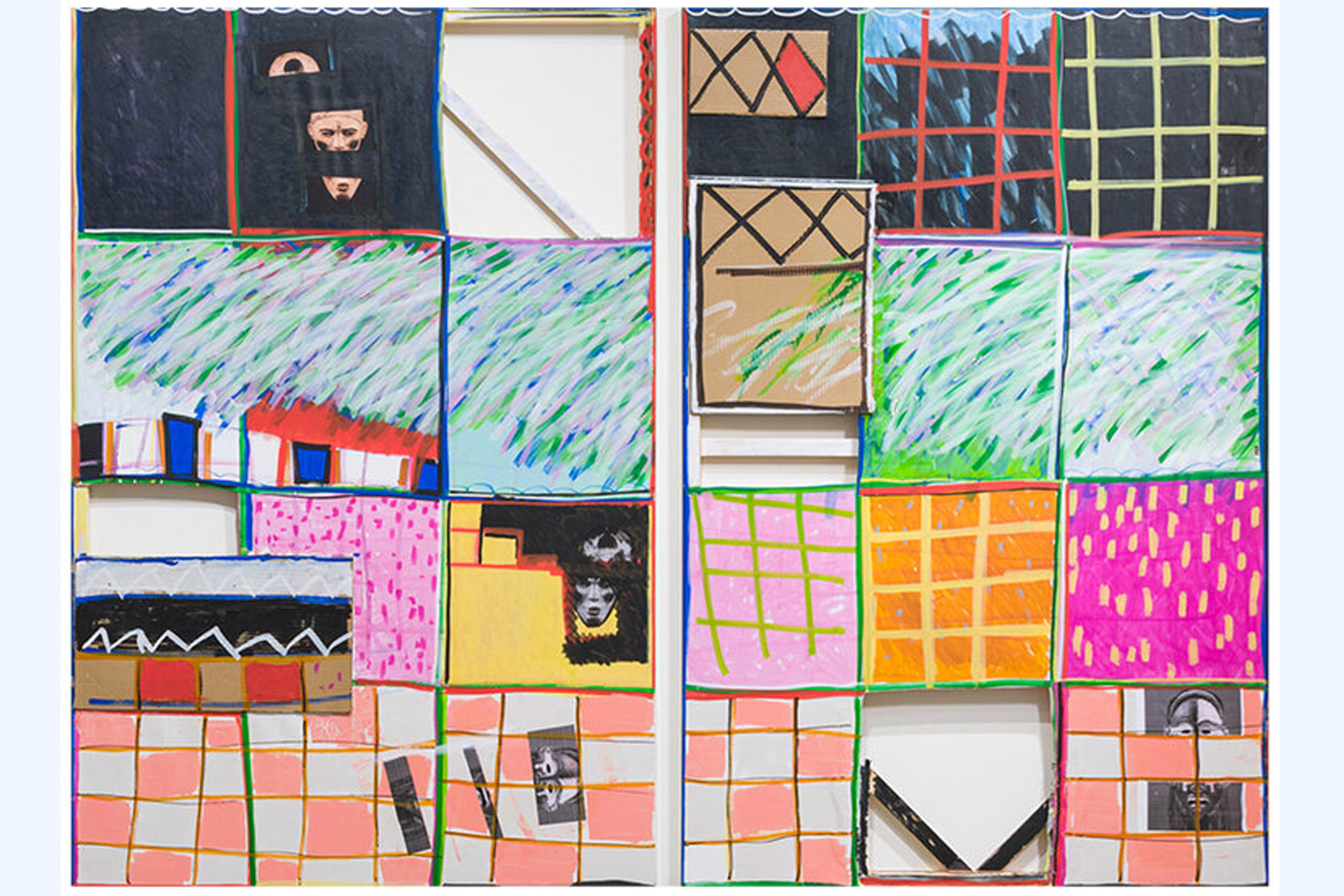 A diptych of rectangular, portrait orientation paintings. Each painting is a features a loose grid, with some of the grid's cells either cut out of the canvas leaving a void or layered over other cells. The individual cells are painted with a combination of gestural, grasslike lines, grids and checkerboards in various colors, and photographs collaged on a black paint background.